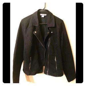 Black Denim stretch Moto Jacket